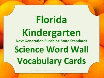 Florida Science Word Wall Kindergarten Vocabulary NGSSS Aligned Orange Border