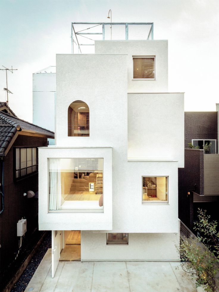tokyo home by fujiilab comprises cluster of protruding white boxes - Home Architecture And Design