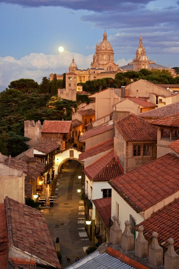 Poble Espanyol, an open-air museum in Barcelona, replicating architecture in various cities around Spain. Artisan shops, restaurants, fun for the family.