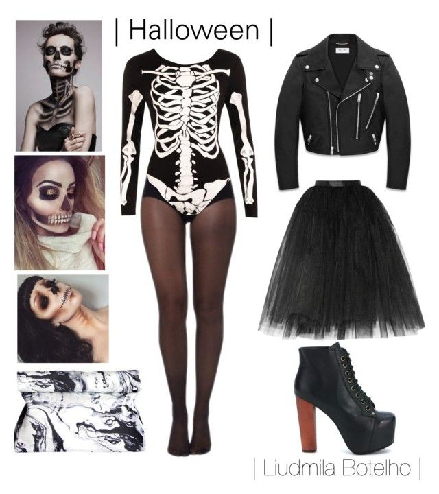 Halloween 2016 by liudmila-botelho on Polyvore featuring polyvore fashion style Yves Saint Laurent Ballet Beautiful Pretty Polly WearAll Jeffrey Campbell clothing