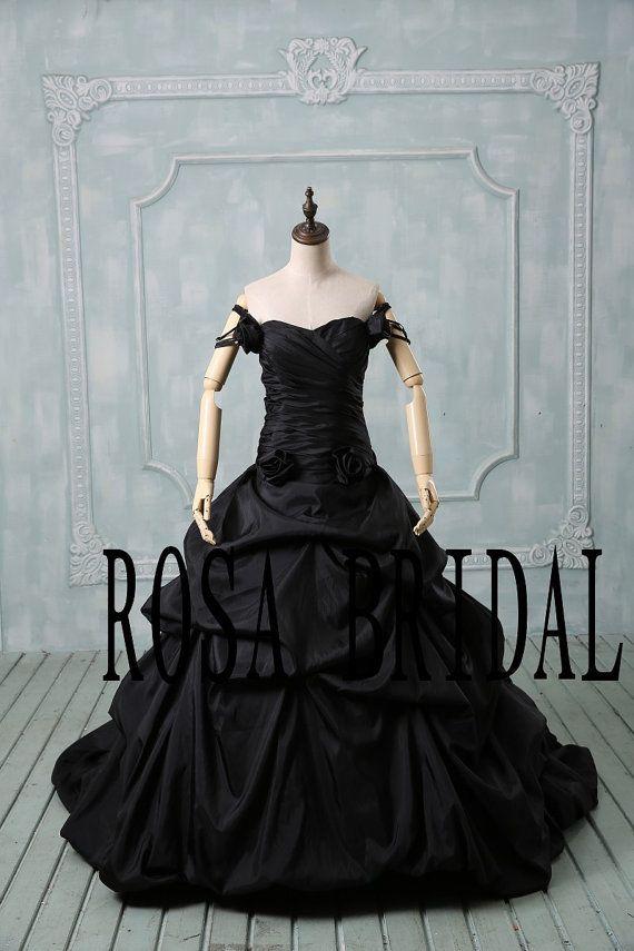 Plus size wedding dress black, Off the shoulder wedding dress, Plus size wedding gown taffeta, Black bridal dress taffeta Custom size color by rosabridal on Etsy