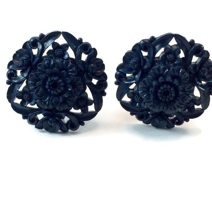 New to VintageVybe on Etsy: Celluloid Earrings Navy Blue Art Nouveau Floral Vintage Plastic Clip On (25.00 USD)