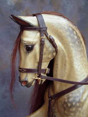 Rocking horses - old oatmeal traditional dappled rocking horses by Legends Rocking Horses