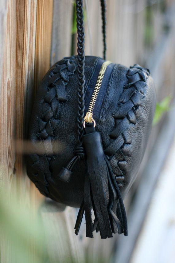 Black Round Leather Bag  Purse with Tassel  by EleannaKatsira
