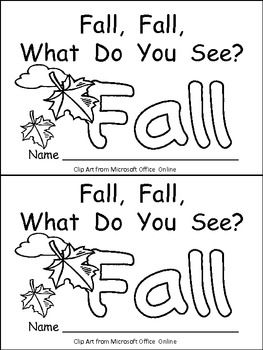 """This emergent reader little book is a great way to begin reading with young students. This story uses a predictable pattern, """"Fall, fall, what do you see?"""" to support emerging readers. This story includes several Fall vocabulary words, such as fall, squirrel, tree, red leaf, orange leaf, yellow leaf, brown leaf, and pumpkin. There is also an alternate title page, as well as an alternate first page, using the word """"autumn"""" instead of """"fall"""" to give you options for your classroom. $"""