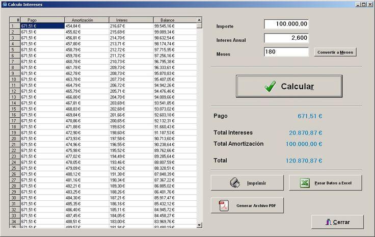 Modificaciones en la pantalla calculo intereses