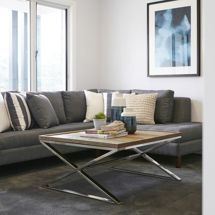 #timber #coffeetable #metal #shadesofgrey #loungeroom #lounge #couch #cushions #green #abstractart #wallart