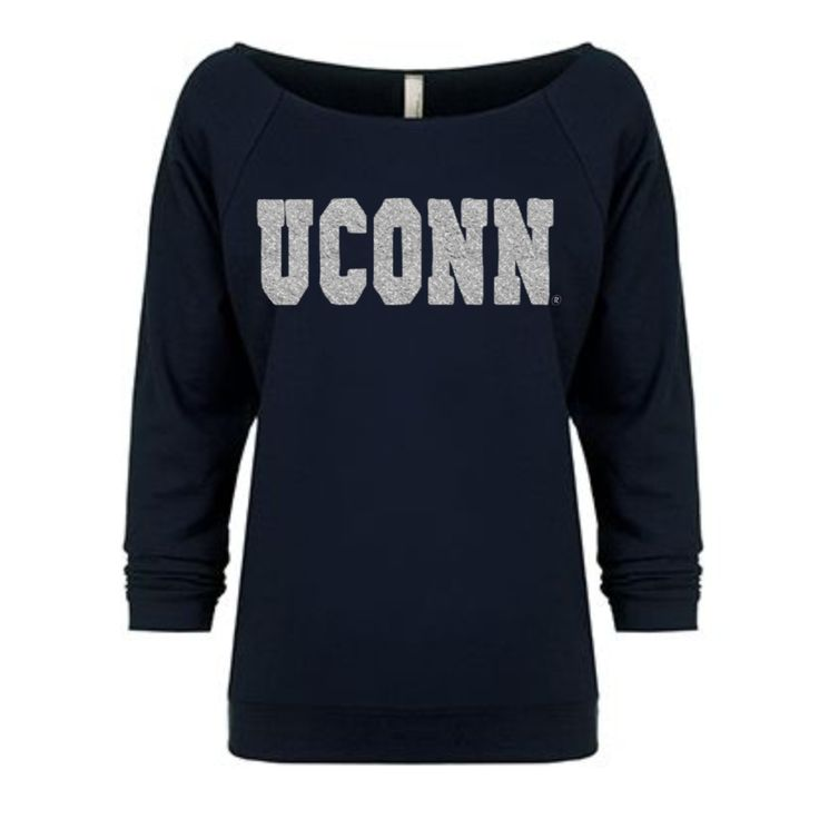 Varsity UConn® Raw Edge Raglan: This navy French terry top features a wide raw-edge neckline, raglan 3/4 sleeves, and a lightweight feel, perfect for spring! The silver glitter design gives it the right amount of Husky bling!  Fits true to size.  What you get:  3/4 Raglan Sleeves Lightweight fabrication (50% combed ringspun cotton/50% polyester and only 4.9 oz.) OFFICIALLY LICENSED UConn® APPAREL