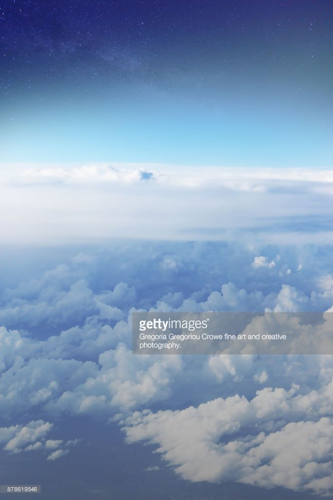 Scene above the clouds during flight.
