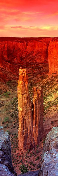 Rock formations in a desert, Spider Rock, Canyon de Chelly National Monument, Arizona