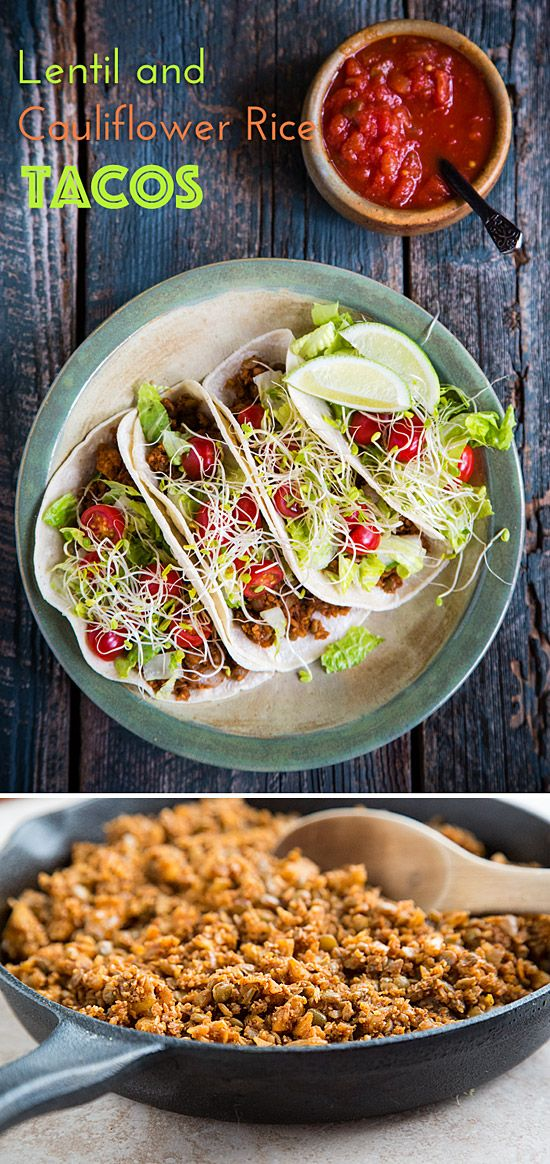 Lentil and Cauliflower Rice Tacos: Spicy, grated cauliflower mixed with lentils to make the most delicious, low-fat vegan taco filling ever!