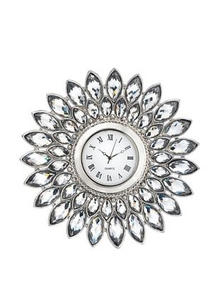 Olivia Riegel Pewter Crystal Dahlia Desk Clock