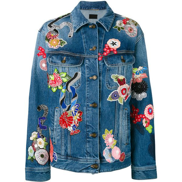 Saint Laurent floral patchwork denim jacket (19227330 PYG) ❤ liked on Polyvore featuring outerwear, jackets, saint laurent, blue, blue jean jacket, long sleeve jacket, denim jacket, blue denim jacket and floral print jacket