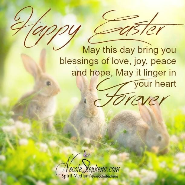 Easter blessings. Spring bunnies.