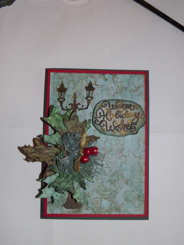 Day 7 used Glassine but I didn't have any so I used old book pages. Lamp and leaves cut with the ecraft.