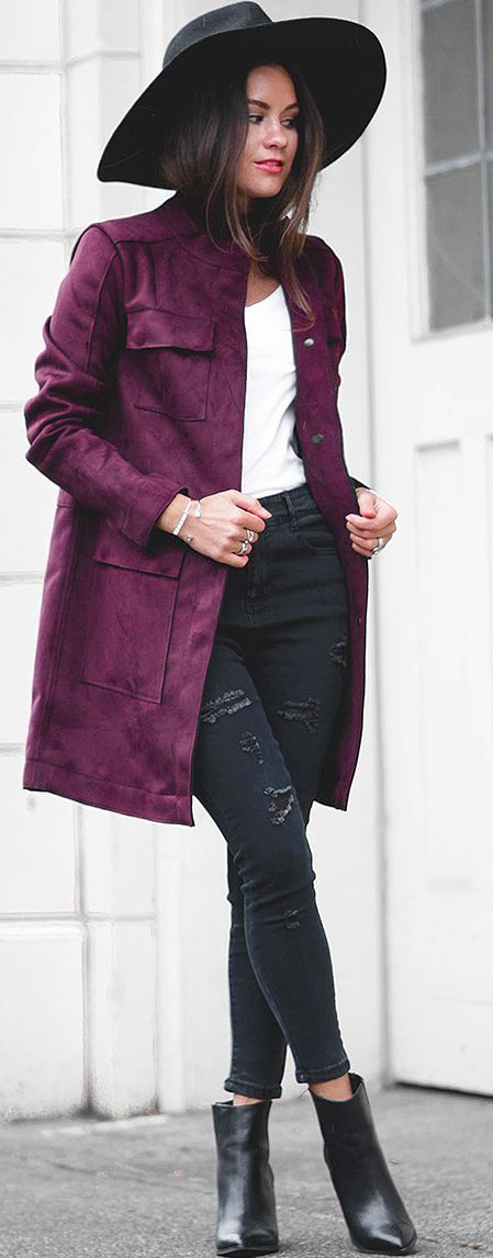 Sarah Styles Seattle Oxblood Suede Jacket Fall Street Style Inspo  women fashion outfit clothing stylish apparel @roressclothes closet ideas