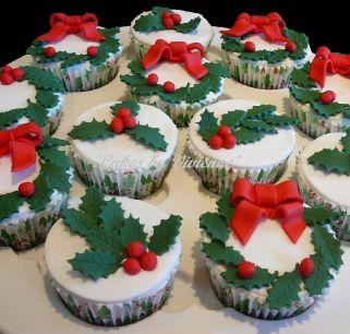 Christmas Holly Cupcakes, Christmas Cupcakes, Cupcakes for Christmas, Holly and Bow Cupcakes, Red Bow Cupcakes, Holly Cupcakes