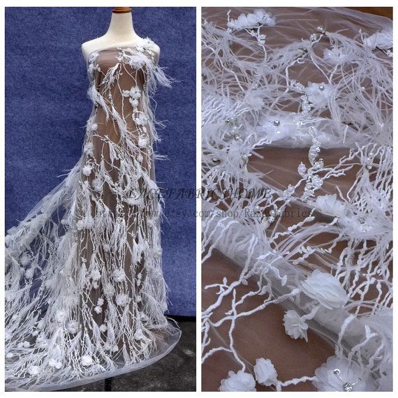 New fashion style Off white handmade feather pearls rhinestones 3D flowers wedding/evening/fashion show dress lace fabric by yard