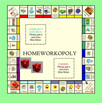 Homeworkopoly - Reward game for students; plays like Monopoly. Resource type: SMART Notebook lesson Subject: Cross-curricular, Other, Citizenship Grade: Kindergarten, Grade 1, Grade 2, Grade 3, Grade 4, Grade 5, Grade 6, Grade 7, Grade 8