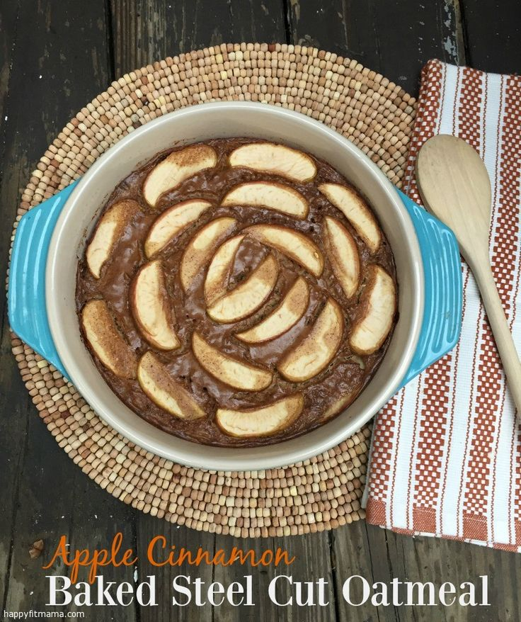 Try this delicious Apple Cinnamon Baked Steel Cut Oatmeal recipe for a healthy breakfast for the whole family. happyfitmama.com