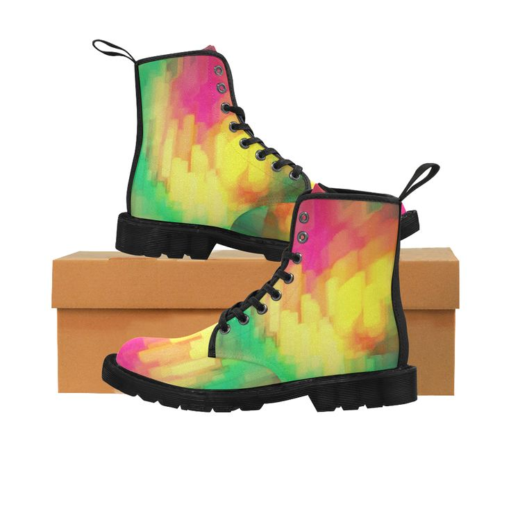 Pastel shapes painting Martin Boots for Women (Black) (Model 1203H).