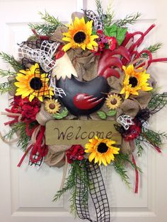 Rooster Burlap Wreath van WilliamsFloral op Etsy,