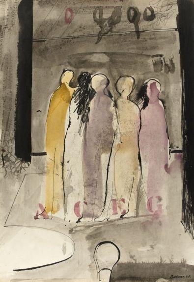 Jiří Balcar, Untitled (Five Standing Figures), ink/watercolor