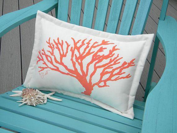 """Outdoor pillow branch coral lumbar 15""""x20"""" coastal"""