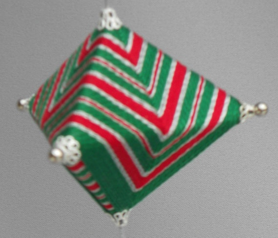 Japanese Temari Koma Ornament Silver Red & Green by