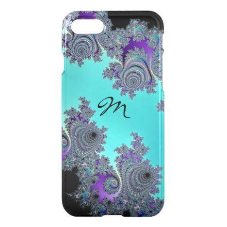 Monogram Turquoise Black Fractal Design iPhone 8/7 Case #fractal #pattern #iphone #protective #cases