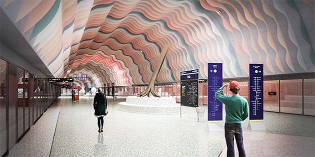 Åsa Jungnelius får uppdraget att utsmycka tunnelbanestationen i Hagastaden. Illustration: SLL