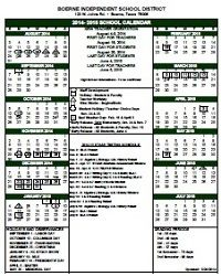 Boerne Independent School District: 2014- 2015 School Calendar