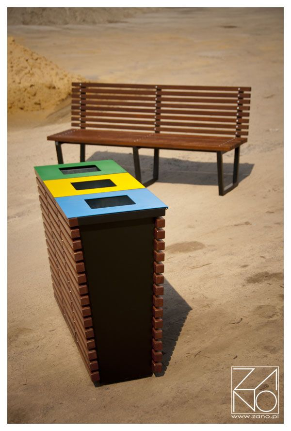 Eco- friendly recycling bins. Designed for recycling various materials in public places. Ideal for any outdoor and indoor application.