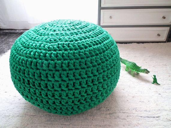 Emerald Furniture Ottoman Pouf - Emerald Green Ottoman Nursery Footstool -Emerald Green Babyroom Decor - Crochet Living Room Seat Knit Poufs