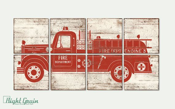 Large Custom Made Vintage Fire Truck Art - Boys Room Print Decor - Customizable Wall Art - 24x48