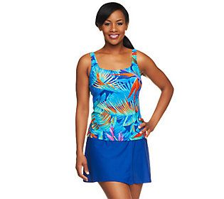 Silver by Gottex Blue Paradise Tankini w/ Faux Wrap Skirtini