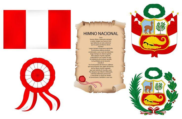 Símbolos patrios Perú para colorear y trabajar el día de la indendependencia del Perú 28 de julio. La bandera, el escudo y el himno nacional del Perú.