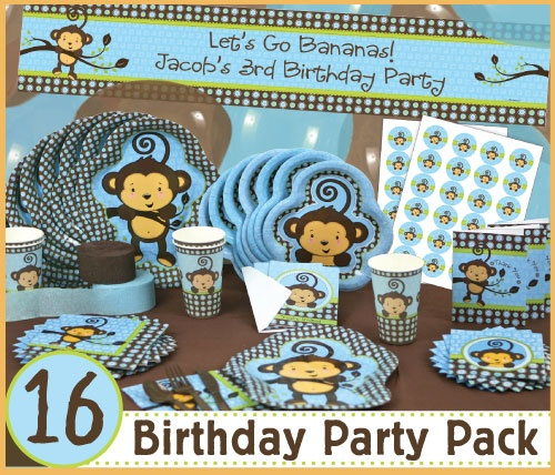 Monkey boy 16 birthday party pack birthday party packs for Baby shower decoration packs