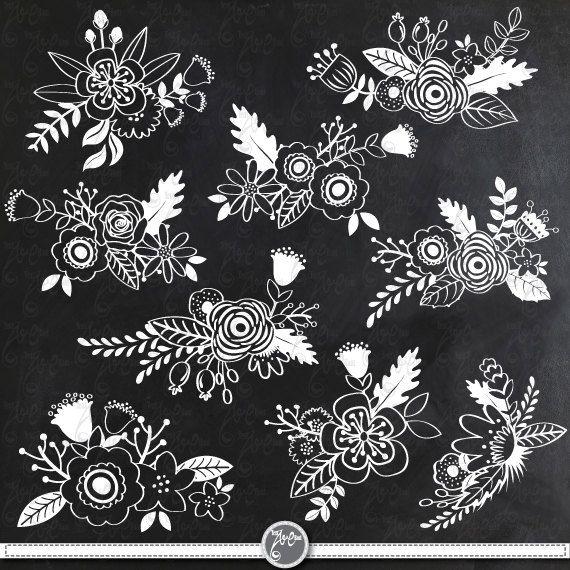 "Chalkboard Wedding Clipart ""CHALKBOARD FLOWER"" clip art, Chalkboard Clip Art,Chalkboard Floral for Wedding invitaion Instant Download Wd060"