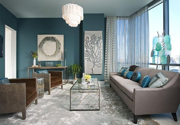 Beautiful Living Room with Turquoise Walls and Accents