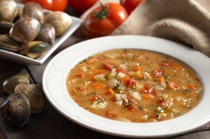 This is my husband's favorite soup - Manhattan Clam Chowder.  Hard to believe something this tasty is healthy too!