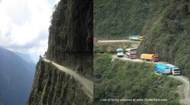 Bolivia - Highway to heaven. Drivers with nerves of steel.