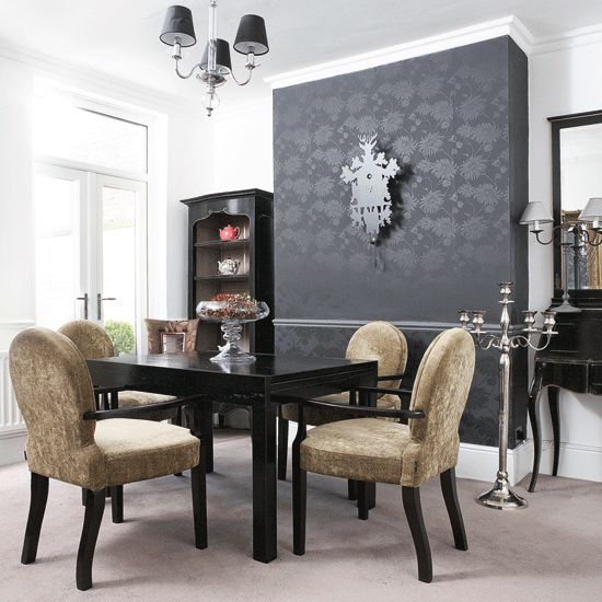 Lovely Dramatic Dining Room Great Accent Wall Tho I Would Rather See