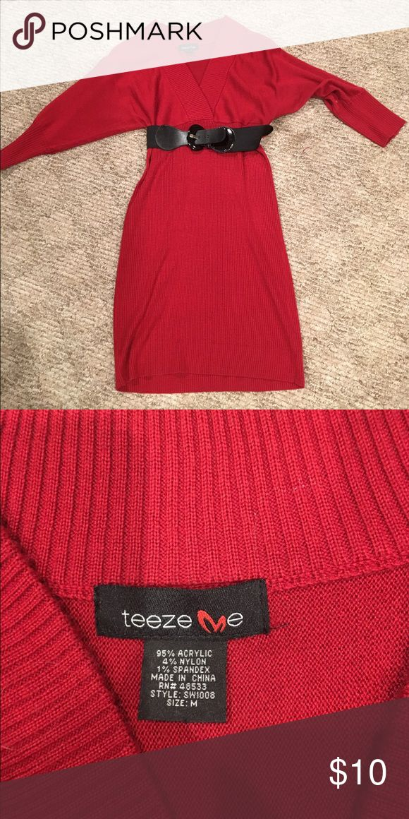 Woman's red sweater dress v-neck Beautiful condition and great for a night out or the office!  Red tunic dress by TEEZE ME medium Teeze Me Dresses