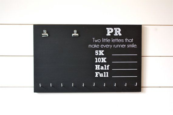 PR Race Bib and Medal Holder On Chalkboard 5K 10K by YorkSignShop