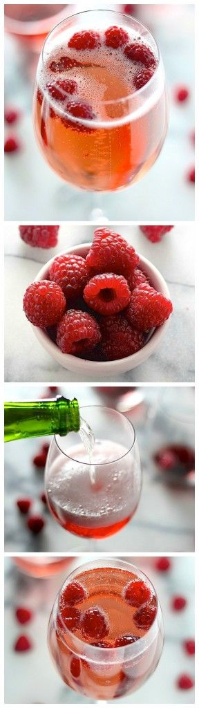 Refreshing Raspberry Champagne Sparklers // Only 2 ingredients!