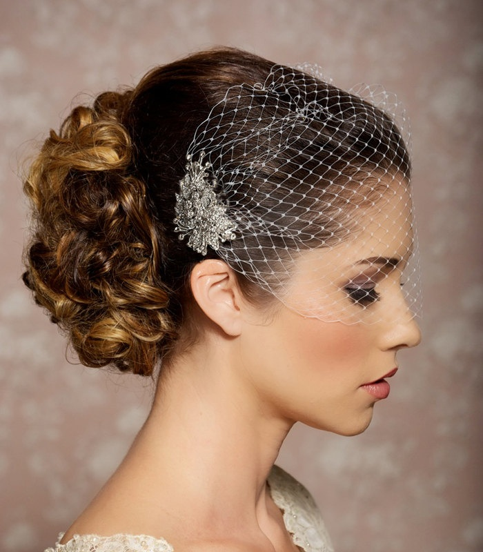 Bridal Veil and Bridal Comb, Bandeau Birdcage Veil, Bird Cage Veil - READY TO SHIP - With Rhinestone Fascinator Comb - The Veronica Veil. $49.95, via Etsy.