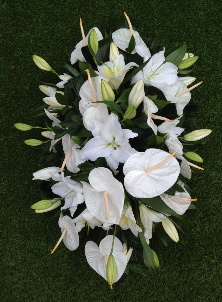 White anthurium and lily spray