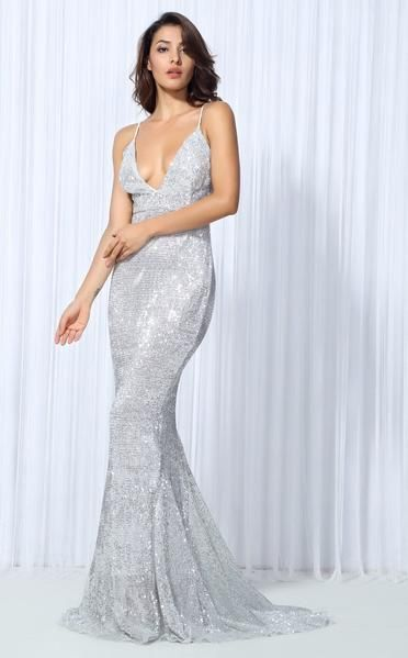 2aca616eaf3 Goal Digger Silver Embellished Sequin Maxi Dress - Fashion Genie Boutique