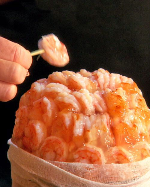 Bloody Brains. With a little hocus-pocus, shrimp cocktail turns into a gruesome appetizer. Halloween party ideas.